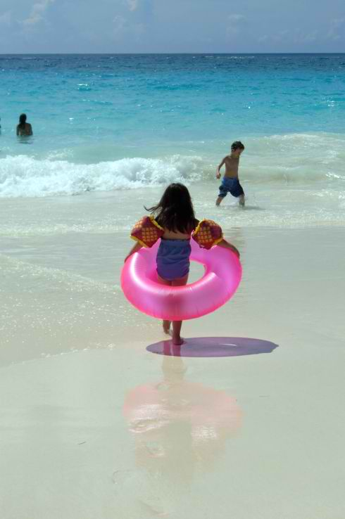 Pink Sand and Pink Bather in Bermuda