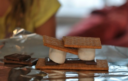 Making Smores Packets to Toast on Grill.