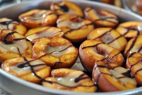 Roasted Peaches with Smoked Cheddar and Balsamic Reduction