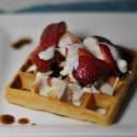 Waffles with Raw Honey Mascarpone and Balsamic Strawberries: a Grown Up Breakfast