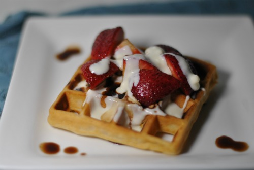 Waffles with Honey Mascarpone and Balsamic Strawberries