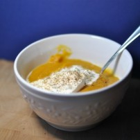 Roasted Butternut Squash Soup with Burrata and Truffle Oil