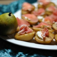 Roasted Pears with Goat Cheese and Prosciutto