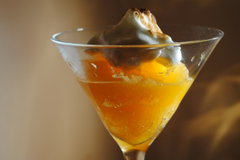 Clementine sorbet topped with meringue