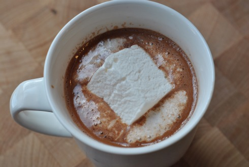 Marshmallow melting in nutella hot chocolate