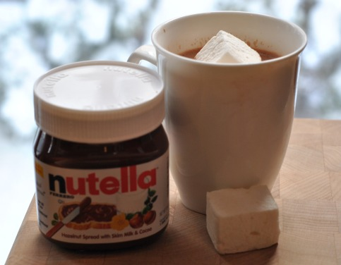 Jar of Nutella and Mug of Hot Chocolate