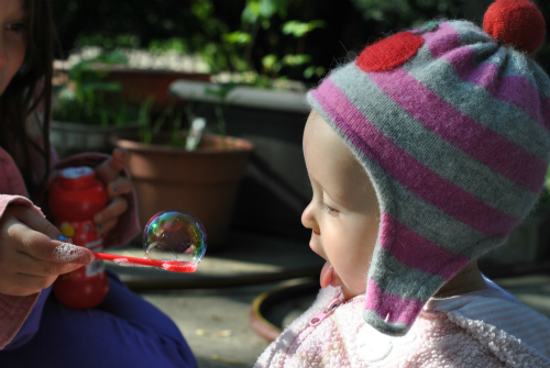 Baby Eating Bubbles