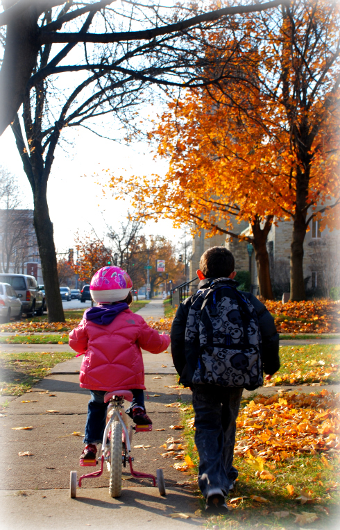 Walking to school in the leaves