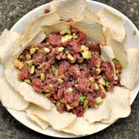Making Homemade Tuna Tartare Appetizer