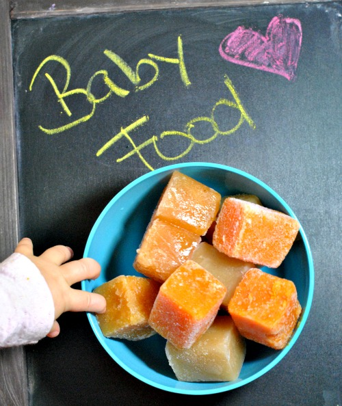 cubes of homemade baby food