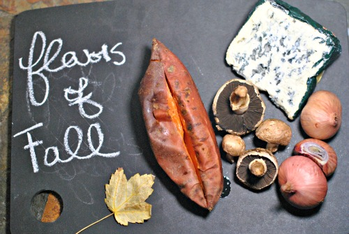 Fall Bounty Flatbread: Sweet Potato, Shallot, Mushroom, and Raclette Flat Bread