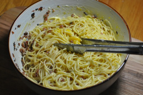 Spaghetti Carbonara: Bacon, Eggs, Cheese, and Pasta. Heaven in a bowl.