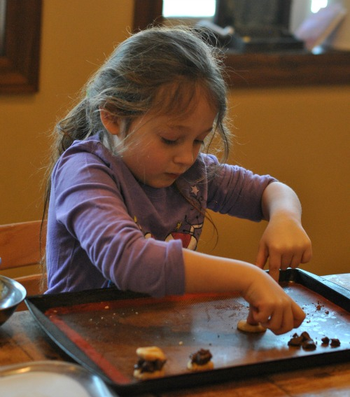 Juju hard at work on her own Nutella and chocolate creation.