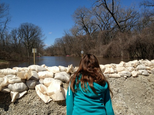 Bella amazed that Chicago Avenue is now a lake.