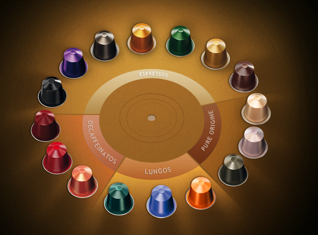 The 16 Nespresso grand cru coffee capsules. My fave? Purple.