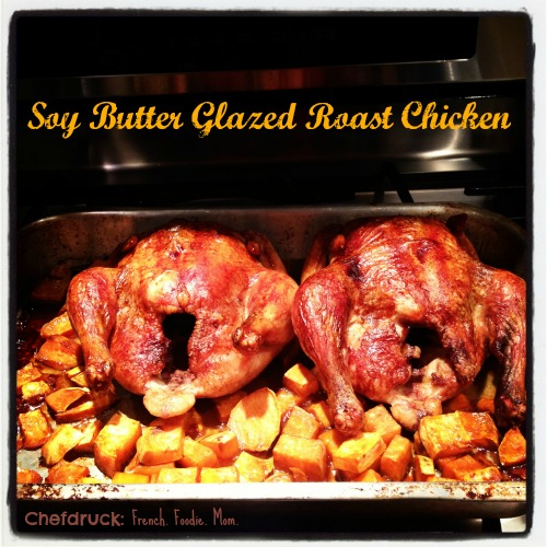 soy glazed roasted chicken, hot out of the oven