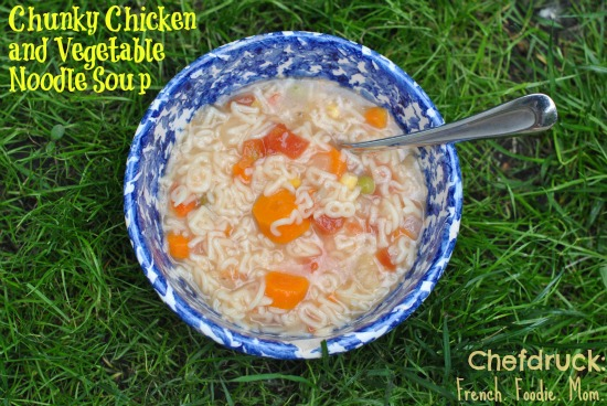 chunky chicken and vegetable alphabet soup