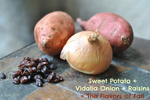 sweet potatoes, onions, raisins