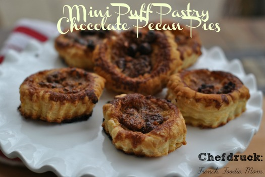 Chocolate Pecan Pie Puff Pastry shells