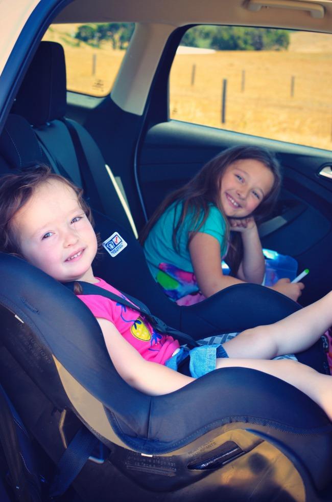 Juju and Sophie in car