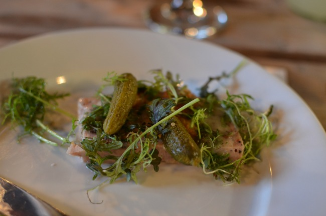 chicken and truffle terrine by Tete Charcuterie with a crispy chicken skin salad