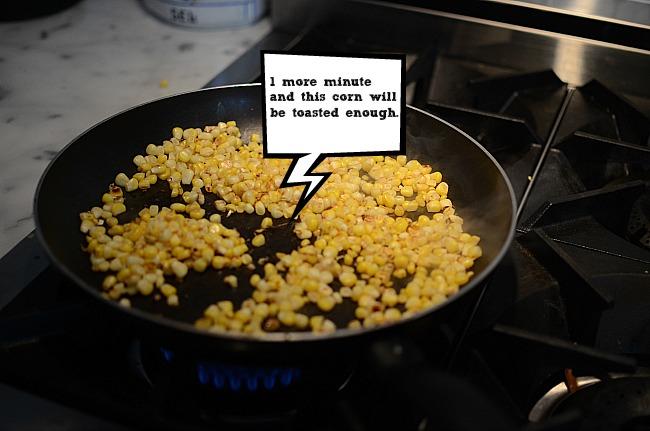 Corn Caramelizing in Pan
