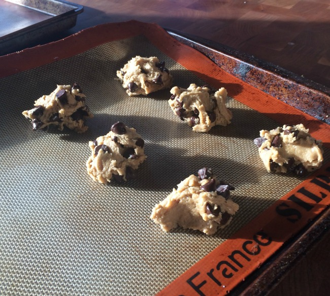 Lob cookie dough balls - slightly smaller than a tennis ball - from way up on high.