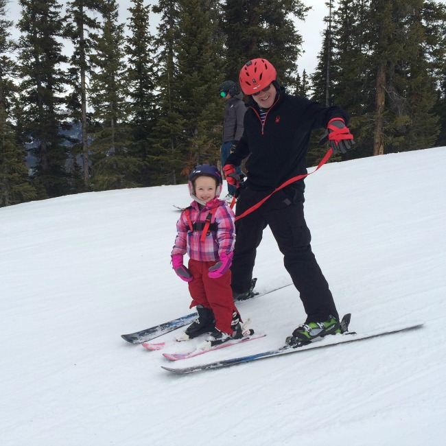 Steve and Sophie skiing