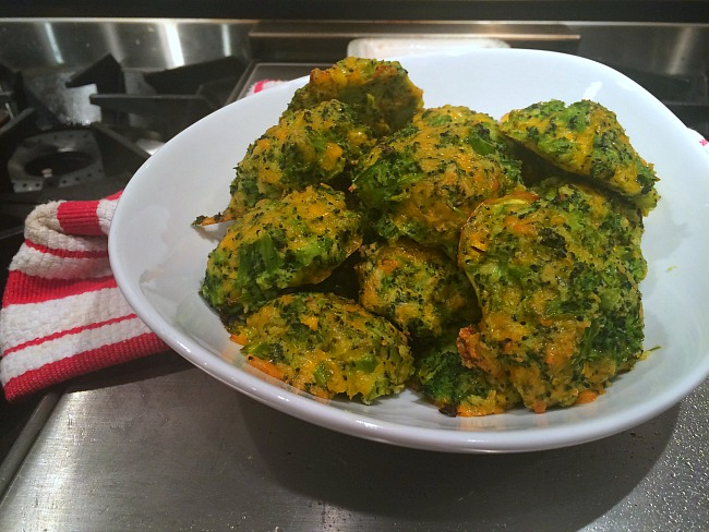 Broccoli Cheddar Pancakes Out of Oven
